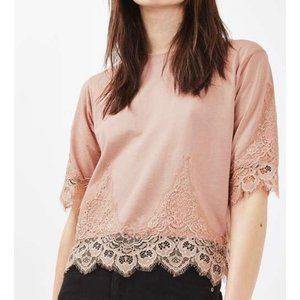 Topshop Pink Lace Trim Knit Top